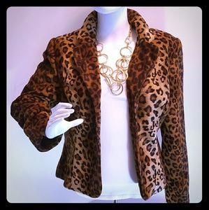 Faux Fur Lepoard Print Jacket Womens